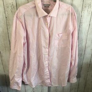 Pink long sleeve button down poplin shirt 18 neck